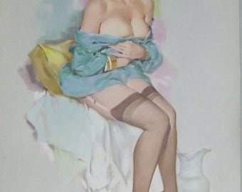 Fritz Willis Pin Up Girl Illustration  February 1962 Calendar Page, Sexy Lady with Garter Belt, White Ironstone Pitcher, Color Print,