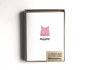 Pussy Hat 6-pack Greeting Cards, blank inside, 6 different designs #pussyhat