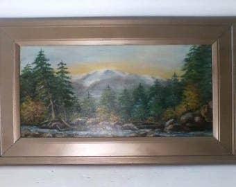 Antique Scenic Forest River Landscape Canvas Oil Painting signed M. Craig