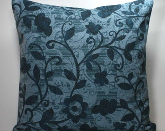 18 x 18 inch Decorative Throw Pillow Cover - Blue Floral - Invisible Zipper Closure - Fabric on Both Sides