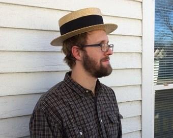 Antique Boater Hat Vintage Americana Straw Mens