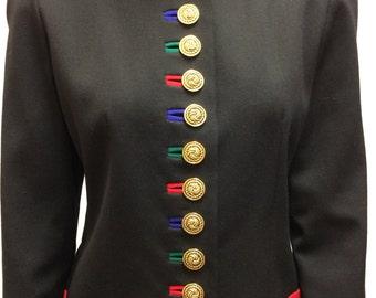 Vintage 80s Black Skirt Suit Jacket XS Wool Bloomingdales 4P