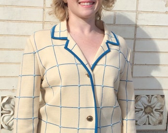 60s Knit Jacket Ivory Blue Striped Check Vintage 1960s M