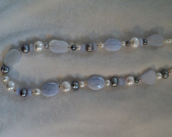 Lovely Lavender/Blue Agate, White and Grey Pearl and Gold Necklace