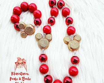 Minnie Mouse Chunky Necklace, Red & Gold gumball necklace, Minnie Jewelry, Mickey Necklace, Minnie Necklace, Red and Gold Necklace, Ears