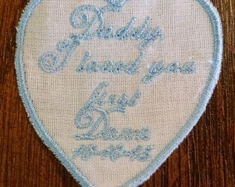 Heart Shaped Embroidered Wedding Label for Daddy