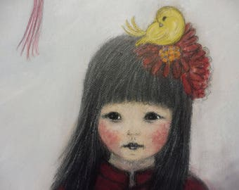 Chinese Girl Red Lantern and Birds Cat  Original Painting Acrylic Naive Art