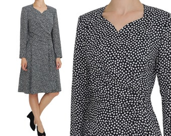 Hanae Mori Sweetheart Bodice Faux Wrap Dress | M | Japanese Designer Speckle Print Dress
