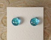 Dichroic Glass Earrings, Aqua Blue Green DGE-937