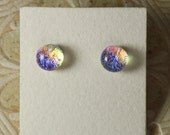"Dichroic Glass Earrings Fire & Ice  5/16"" DGE-947"