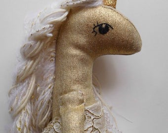 Gold Linen Unicorn
