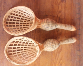 Pair Of Woven Wicker Tussie-Mussies/ Floral Bouquet Holders