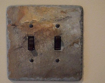 Decorative Double Toggle Switch Plate Switchplate Slate Outlet Cover Switch Plate Wall Light DS