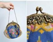 30% OFF storewide // SALE / Vintage 1930s painted silk handbag with cherub detail on metal frame