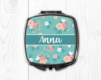 Personalized Bridesmaid Gifts Compact Mirror Personalized Compact Mirror for Purse Mirror Wedding Gift Bridesmaid Wedding Gift Coral Floral