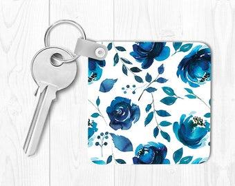 Key Chain Blue Floral Keychain Housewarming Gift Blue Keychain Blue Key Chain Floral Keychain Floral Key Chain