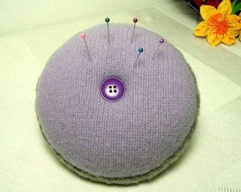 Lavender n Gray Pincushion Soft Wool Sewing Notion or Brooch Display