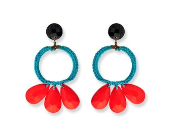 Large Boho earring, Circle Hoop earring, Red and Turquoise Aqua, Red drop Colorful Summer earrings