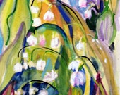 Lilly of the Valley original watercolor floral painting 12x9 Art by Delilah