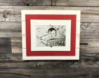 Red and white picture frame holds 5x7/college colors/distressed/graduation/school