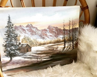 Vintage Rocky Mountain Original Oil Painting