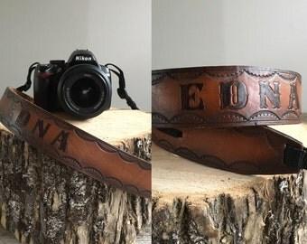 Leather Camera Strap //  Vintage Camera Strap  //  THE EDNA