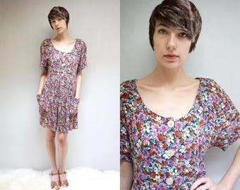 90s Babydoll Dress  //  Floral Gauze Dress  //   FOREST ROSE