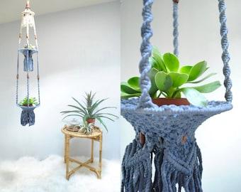 Double Macrame Plant Hanger  //  Cotton Macrame Plant Hanger  //   INDIGO DREAM