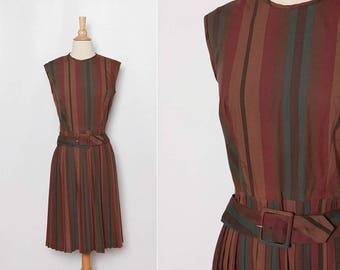 1960s striped dress with belt