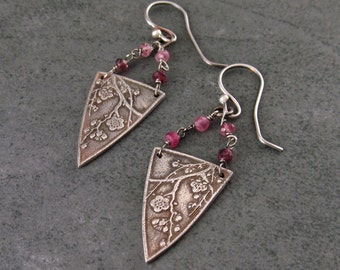 Cherry blossom earrings, handmade eco friendly fine silver and pink tourmaline earrings-OOAK Sakura
