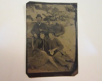 antique tintype photo - two couples with boy - hats, umbrella,  TT593