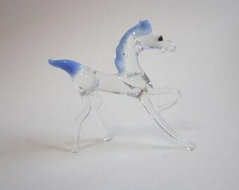 vintage blown glass miniature horse - blown glass horse - mini glass horse - blown glass animal