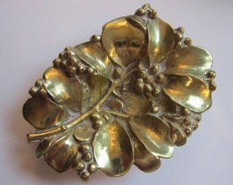 RESERVED for Eve - vintage brass trinket dish - MISTLETOE brass dish - Virginia Metal Crafters - copyright 1956
