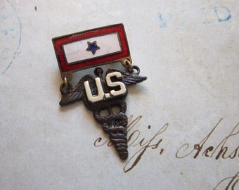 vintage WWII one son in service military medic pin - US militaria, sweetheart pin - one star, 1 son in service pin