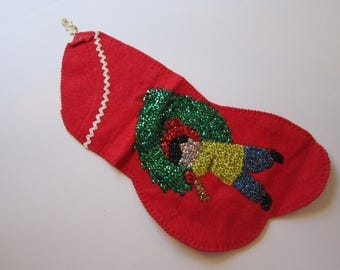 vintage handmade felt stocking with sequined embellishment - felt and sequins - vintage Christmas stocking - by carrying Christmas tree
