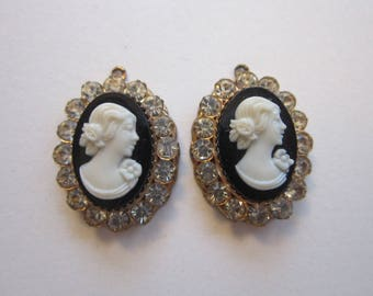 2 vintage cameo rhinestone charms - 5/8 x 7/8 inch - salvaged supply