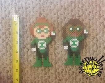 Custom-Made Perler Bead Superhero in the Style of Green Lantern - with YOUR Features (hair/eye/skin colors). We'll make it look like you!