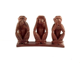 Carved Wooden Monkeys, See no Evil hear no evil speak no evil figurine