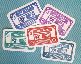 Casette Tape Stamp - Customizable - Rubber Stamp, mix tape