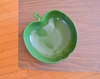 vintage large hazel atlas green apple bowl / green home decor / green glass serving dish bowl