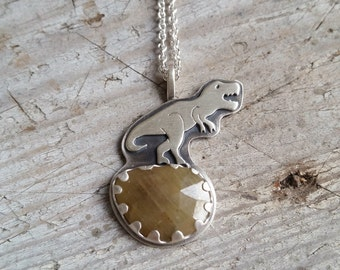 T-rex and Yellow Sapphire Dinosaur Necklace, T-rex Pendant, Tyrannosaurus Rex, Sapphire Necklace, T Rex