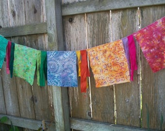 Wall Banner Flag Decoration 5 Feet Inside/Outside Colorful Batik Birthday Party Wall Decoration Fabric Banner Rainbow Flags