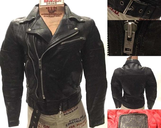 Vintage ECTH LEDER Double Racer Biker Motorcycle Leather Jacket Men's Small (LJ-5)