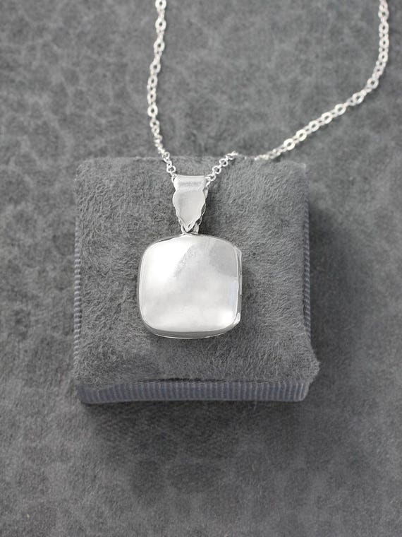 Plain Square Rectangle Sterling Silver Locket Necklace, Smooth Modern Photo Keeping Pendant - Memory Box