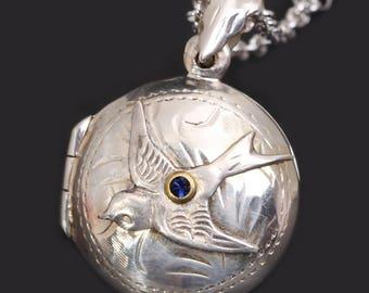 Sterling Silver Locket Necklace Sterling Silver Compass Necklace Compass Locket Silver Bird Necklace Silver Compass Necklace