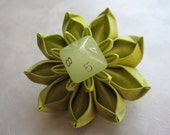 Green and Glow Dice Flower Hair Clip