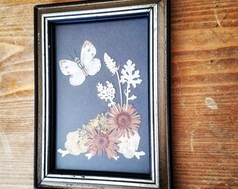 Vintage dried Flower and Butterfly Wall Art Picture Frame