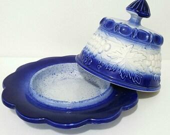 Vintage Cobalt Blue and White Salt Glazed Butter Dish with Lid.