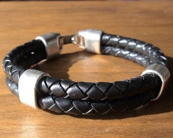 black bracelets, men's silver bracelet, Black leather bracelet, leather silver bracelet, Men's Jewelry, bracelets for him, mens gifts