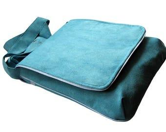 Neon Turquoise Bag, Spring Bag, One Of a Kind Messenger Bag, Eco Suede Vegan Bag, Crossbody Flap Cover Bag, Adjustable Strap, Travel Bag